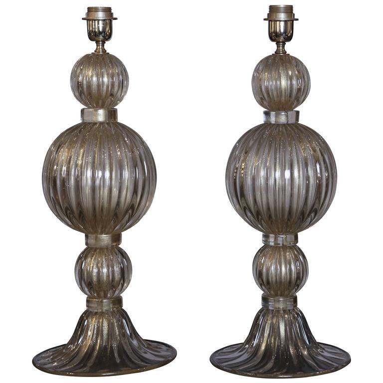 lighting table lamps pair of handblown venetian glass table lamps. Black Bedroom Furniture Sets. Home Design Ideas
